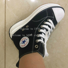 Lace Up Ankle Women White Platform Boots Canvas Casual High Heel Elevator Sneakers Booties Muffin Flatform Black Shoes A1-141