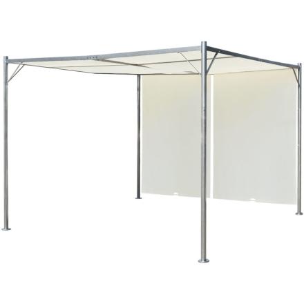 vidaXL Pergola med justerbart tak gräddvit stål 3x3 m
