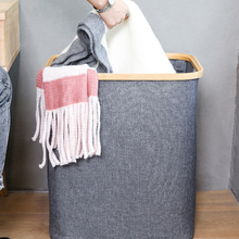 Laundry Basket with Lid Large Bamboo Dirty Clothes Hamper with Handle Waterproof Collapsible Laundry Hamper Storage Bedroom