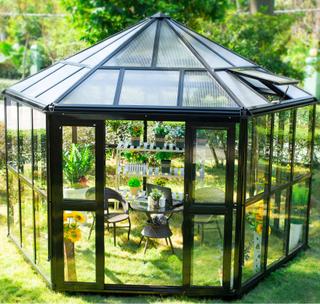 Sexkantigt växthus 10m² Färg: Svart