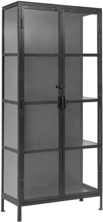 Nordal - Vitrineskab 175cm - sort jern og glas