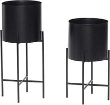 Hübsch potte med ben i sort - sæt á 2 stk
