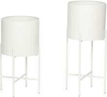 Hübsch potte med ben i hvid - sæt á 2 stk
