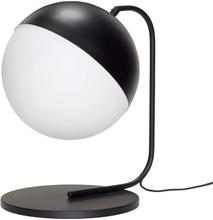 Hübsch bordlampe i sort metal og hvid glas