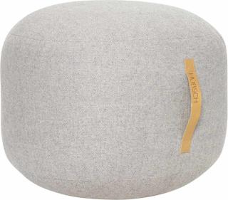 Hübsch puf med læderhank i grå uld - Ø50 cm