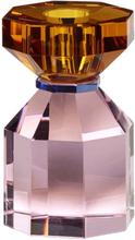 Hübsch lysestage i krystal - pink og ravgul