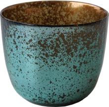 TRADEMARK LIVING vase - blå/grøn og kobber glas, rund (Ø 26)