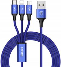Kabel USB - Lightning/Micro USB/USB Typ-C BASEUS CAMLT-SU13 1.2 m Niebieski