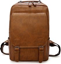 Vintage Laptop Backpack Men Waterproof Bagpack Khaki Travel Men Bag PU Leather Backpacks Big Capacity Male Mochila Bags For Men