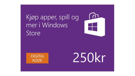 Digitalt gavekort på 250 kr i Windows Store