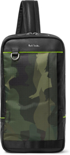 Leather-trimmed Camouflage-print Ripstop Backpack - Army green