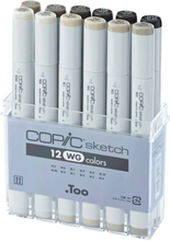 Copic Sketch set - 12 pennor - Warm Gray