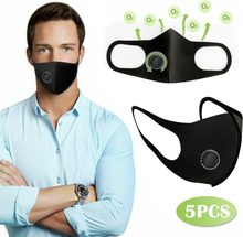 5Pcs Face Cover masks Adult Fabric Breathable Half Face Reuse Mask For Cycling Outdoor Sport Essential mascarilla with Air Valve