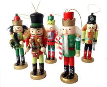 5pcs 12cm Wooden Nutcracker Doll Soldier Miniature Figurines Vintage Handcraft Puppet New Year Christmas Ornaments Home Decor