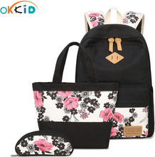 OKKID school bags for girls chinese style floral backpack girl schoolbag flower book bag pen pencil food bag set Christmas gift