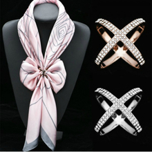 Cross Brooches X Shape Scarf Buckle Crystal Brooches For Women Hollow Scarves Buckle Brooch Jewelry Clothing Accesories