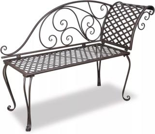 VidaXL Chaise Longue De Jardin 128 Cm Acier Antique Marron Weather Resistant And Highly Durable Garden Chairs