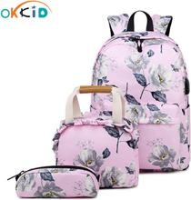 OKKID school bags for girls pen pencil food bag set kids flower school bag children floral school backpack child Christmas gift