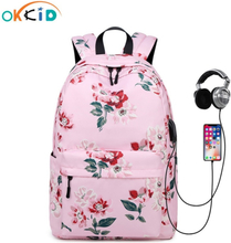 OKKID childen school bags for girls flower backpack female waterproof nylon floral school backpack kids book bag New Year Gift