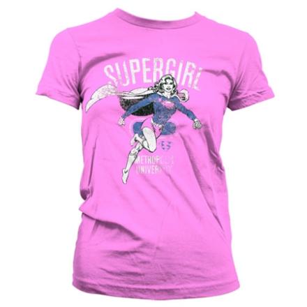 Supergirl Metropolis Distressed Girly T-Shirt, Girly T-Shirt