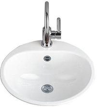 Alape EW3 Håndvask 47,5 x 47,5 cm, Hvit m/Tapphull og Overløp