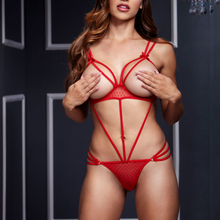 Strappy Bodysuit & Open Cup Bra O/S Red