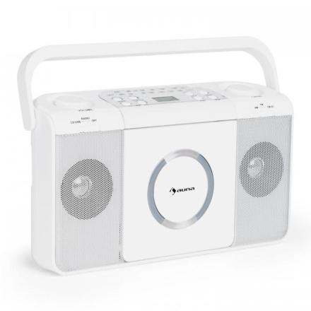 Boomtown USB CD-Spelare FM Radio MP3 Bärbar Kofferradio Bergsprängare vit