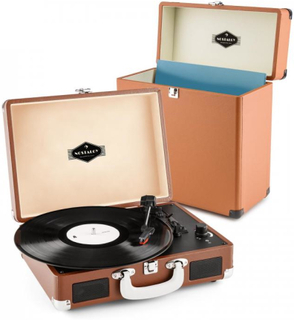 Peggy Sue Record Collector Set brown | Retro Skivspelare | Skiv-väska