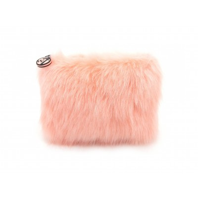 W7 Medium Furry Cosmetic Bag Coral 1 stk