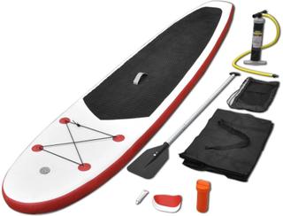vidaXL Oppblåsbare SUP-brettsett rød og hvit