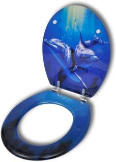 vidaXL Toalettsits med delfiner MDF hård stängning