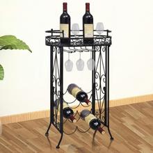 vidaXL Vinställ med glasförvaring för 9 flaskor