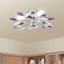 vidaXL Taklampa med kristallöv i vitt & lila för 3 glödlampor E14