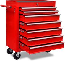 vidaXL Verktygsvagn 7 lådor röd