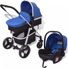 vidaXL 3-i-1 Barnvagn aluminium blå och svart