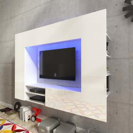 vidaXL TV-möbel högglans vit med LED 169,2 cm