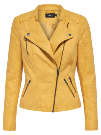 ONLY Leather Look Jacket Women Yellow