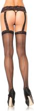 Leg Avenue - Blonde strømpeholdere m. fastsiddende strømper med bagsøm S-L