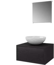Servant og baderomsmøbler 3 deler sort