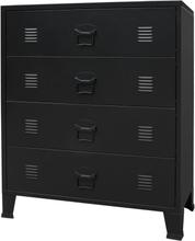 vidaXL Byrå industriell stil metall 78x40x93 cm svart