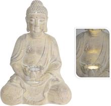 ProGarden Buddha med soldrevet lys kremhvit MGO