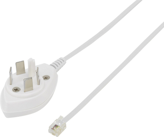 Telefon (analog) Tilslutningskabel [1x Telefon-stik Sverige - 1x RJ11-stik 6p4c] 3 m Hvid