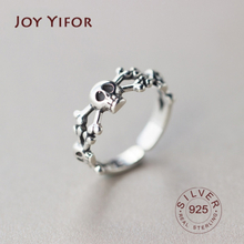 Vintage 925 Sterling Silver skull Rings for Women Fashion Trendy Jewelry Large Adjustable Antique Rings Anillos