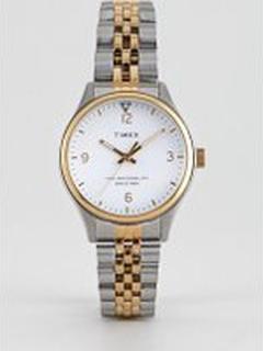 Timex Waterbury bracelet watch in mixed metal - Silver