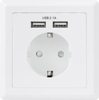 Basetech 1425527 Skjult sokkel med USB IP20 Hvid