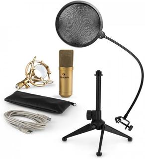 Auna MIC-900S-LED USB Mikrofonset V2   3-delat mikrofon-set med bordsstativ