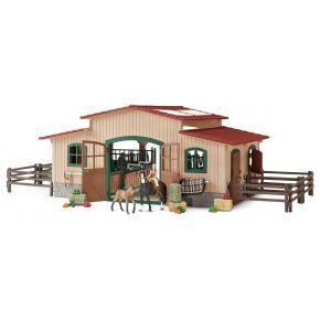 Schleich - Stall med hästar och tillbehör 42195