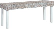 vidaXL Bänk 110 cm vit naturlig kubu rotting och massivt mangoträ