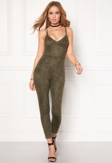 BUBBLEROOM Blair suede jumpsuit Dusty green XS