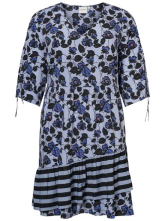 JUNAROSE 3/4 Sleeved Printed Dress Women Blue